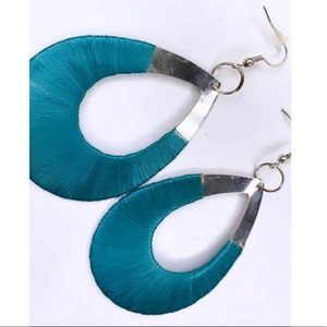 Teardrop half wrapped earrings